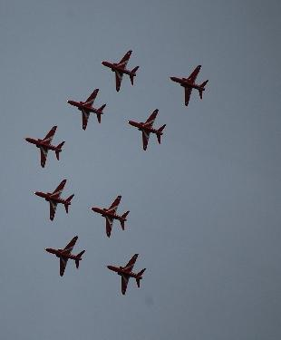 The Red Arrows flying over Falmouth last night