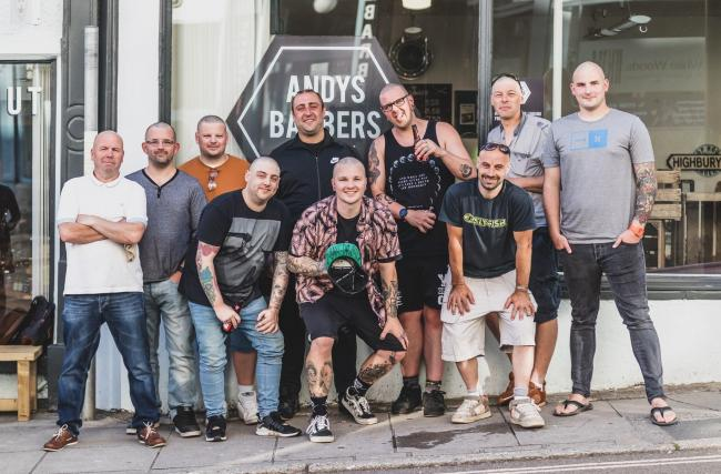 Some of the men who had their hair and beards shaved off for charity. Photos: Jake Riding