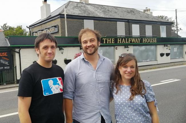 The Halfway House between Falmouth and Helston is being taken over by Matt and Emma Ferguson, with executive head chef Dan Ferguson (far left)