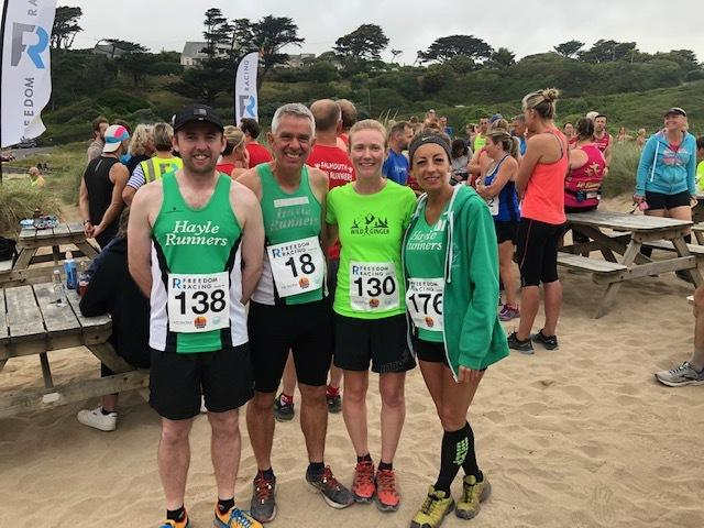 Hayle Runners quartet Philip Johns, Mike Baldwin, Clare Hughes and Debbie Mitchell at the Poldhu 10k