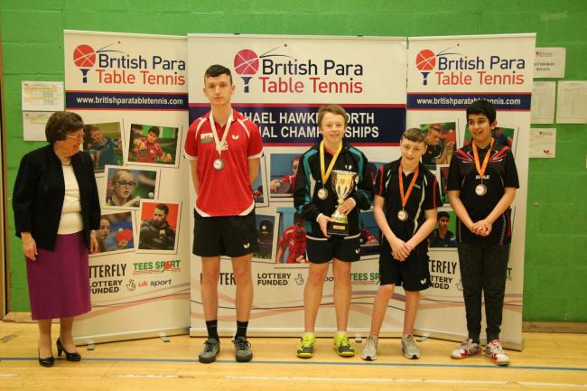 Dylan Tynan of Falmouth (centre), who won the British Para Table Tennis National Championships last year