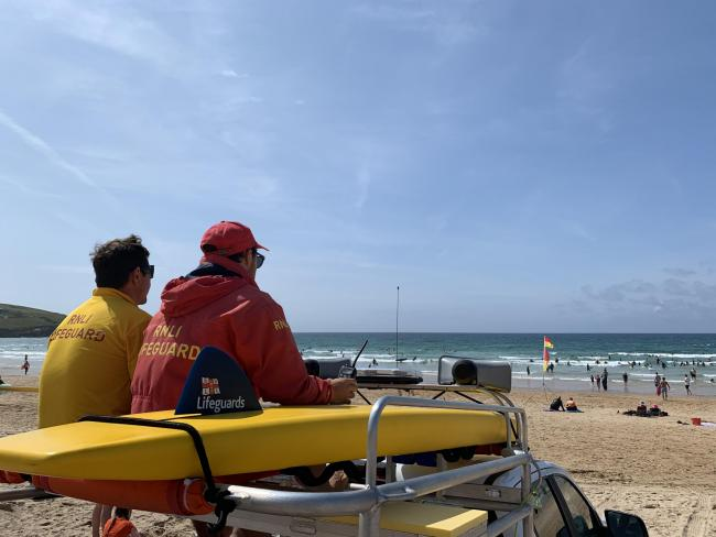 RNLI lifeguards on duty at Fistral beach in Newquay