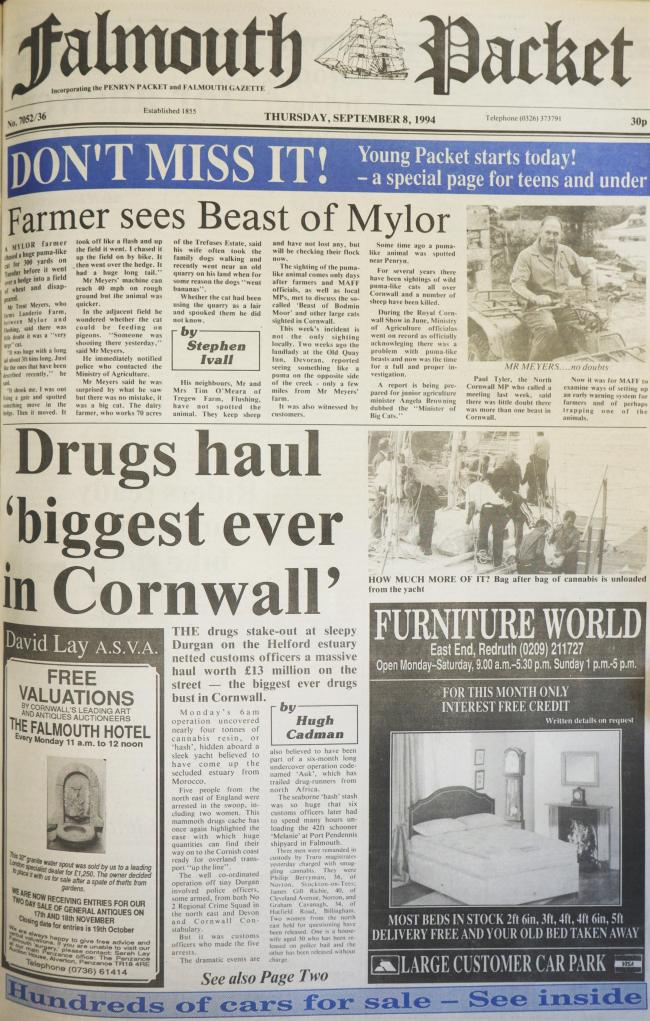 The front page of the Falmouth Packet from September 8 1994
