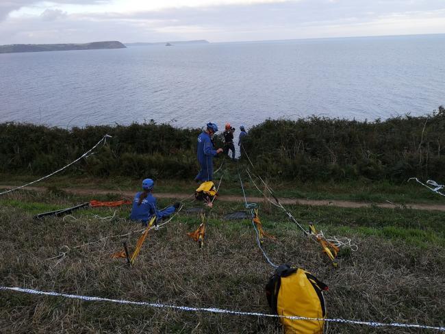Rope systems are put in place before Portscatho coastguards rescued a dog