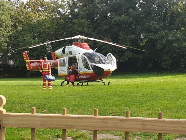 File picture of the air ambulance in Glasney Field, Penryn