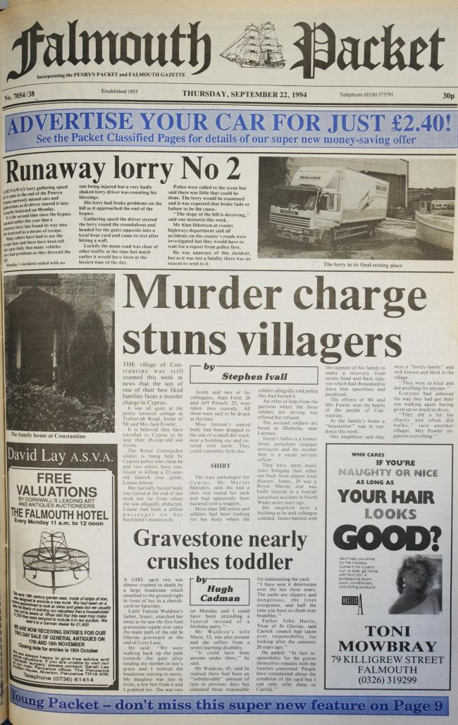 The front page of the Falmouth Packet from this day in 1994