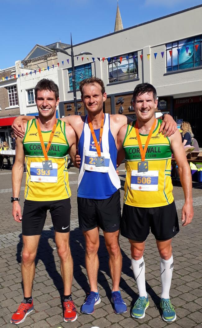 Tony Brewer of Mile High Running Club won the Truro Half Marathon, with Matt Yates (left) and Ryan Hanley (right) of Cornwall Athletic Club in second and third respectively