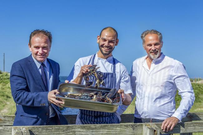 Unicorn on the Beach at Porthtowan. From left: MP George Eustice, chef Jess Kelly and Taskin Muzzaffer