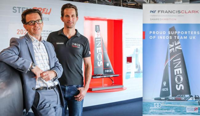 Martin Aldridge, left, PKF Francis Clark Partner and Head of Marine, with Sir Ben Ainslie, team principal and skipper of INEOS TEAM UK, the British team for the 36th America's Cup, at the team's headquarters in Portsmouth