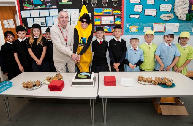 Pupils with the Fairtrade commercial marketing manager Cat Rayner, dressed as a banana