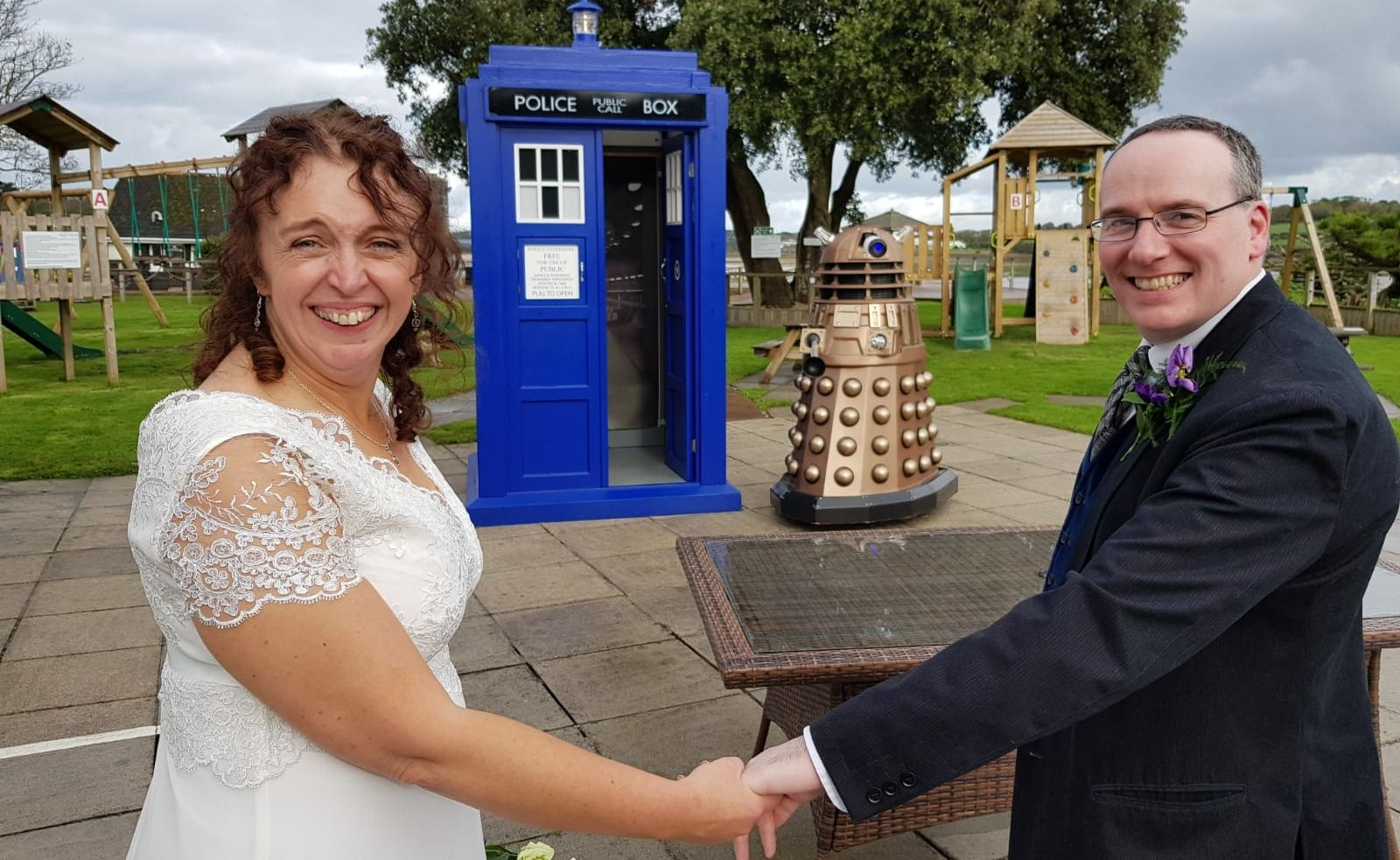 Doctor Who themed wedding in Cornwall, with TARDIS and Dalek