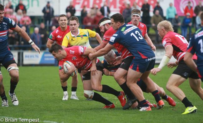 Javier Rojas Alvarez is about to score a try in the Cornish Pirates' 44-25 win at Doncaster Knights on Saturday. Rojas Alvarez accumulated 24 points in the match. Picture by Brian Tempest