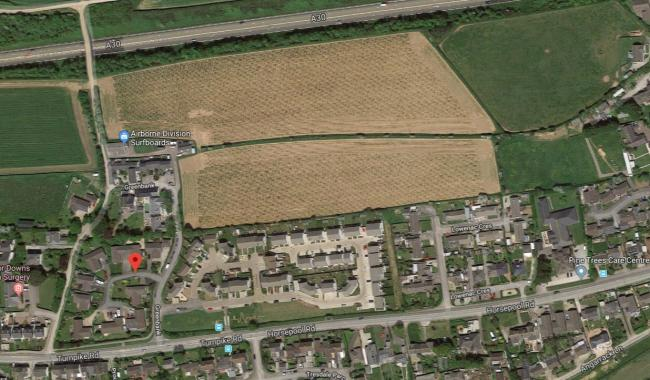 Aerial view of the site off Greenbank in Connor Downs where an outline planning application for an affordable housing led development have been deferred (Image: Google Maps)