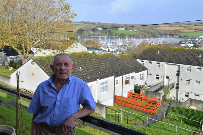 Chris Sage enjoys the view from his back garden in Oakfield Road, Falmouth