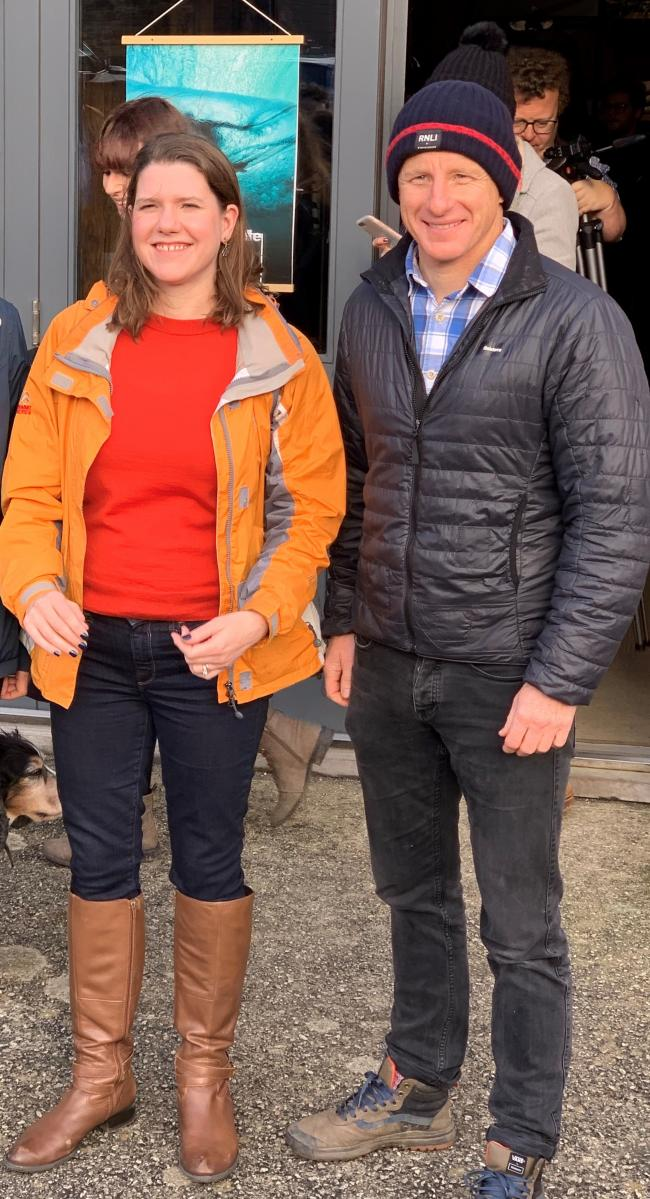 Jo Swinson with Finisterre founder Tom Kay