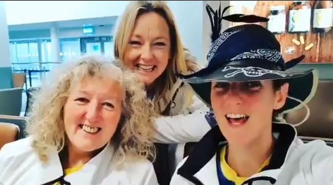 Oarsome Foursome team members Mo O'Brien, Claire Allinson and Bird Watts at the airport today. Image: Oarsome Foursome/Twitter