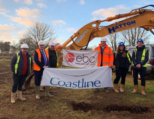 From left: John Ward (Hatton), Paul Jones (EBC), Sam Ward (Hatton), Andre Le Hunte Youe (EBC) and Georgina Hayman and Fraser Short of Coastline officially start the works on new affordable homes for Illogan.