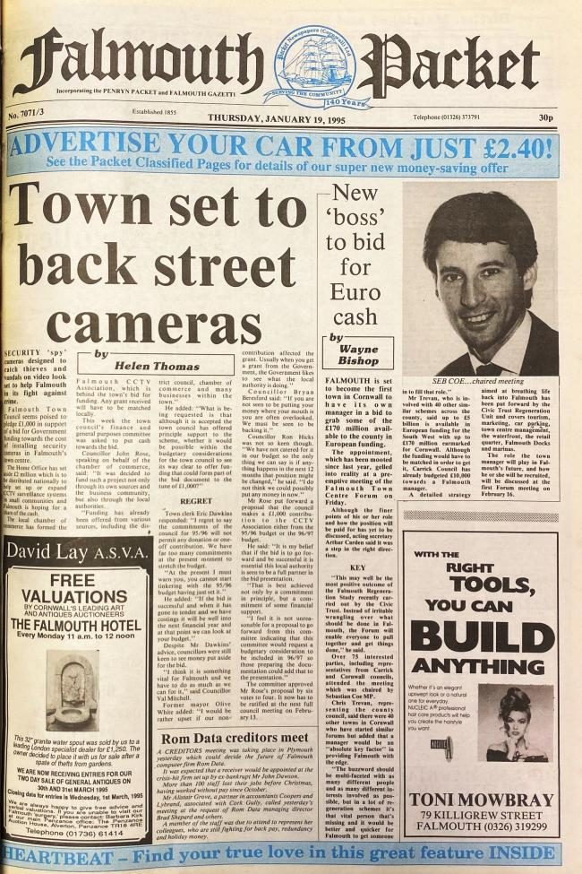 The front page of the Packet from January 19 1995