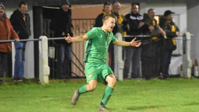 Scott Kellow celebrates his superb strike in Falmouth Town's 3-2 win at Penzance in the Cornwall Charity Cup