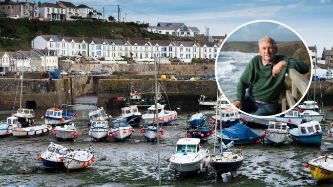 Kenny Mitchell (inset) spent most of his life in Porthleven, where he was a former coastguard