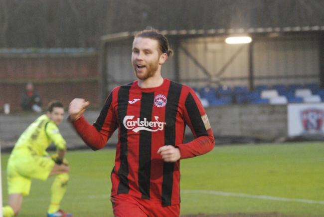 Tyler Harvey celebrates his penalty in his side's 3-1 win at Swindon Supermarine on Saturday: Picture by Cameron Weldon