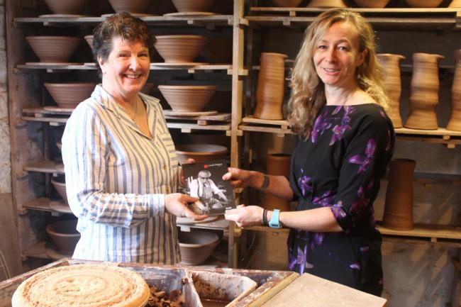 Mary English (left), chair of the St Ives September Festival, and Leach Director Libby Buckley announce the Pottery's Festival patronage