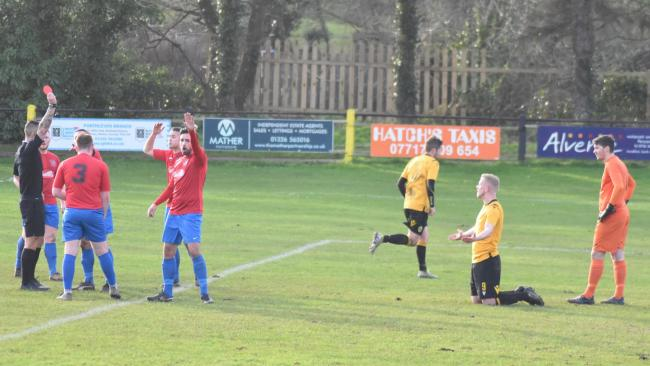 Ryan Lucassi is shown a straight red for Callington Town in their 2-1 defeat at Porthleven on Saturday