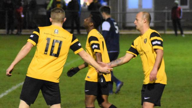 Jordan Annear (left) congratulates Ryan Richards on his first goal in Cornwall FA's 4-1 win over Royal Navy FA