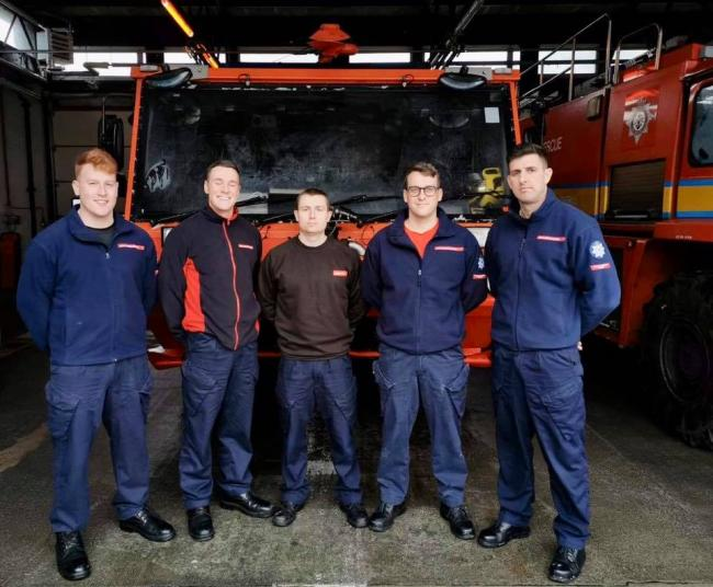 RNAS Culdrose's duty fire team who helped fire crews tackle the blaze this morning