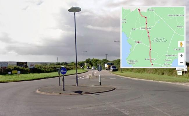 The Helston to Lizard road is closed for roadworks this week