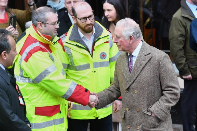 The Prince of Wales meets first responders during a visit to Pontypridd