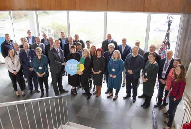 Business owners, employers and councillors at New County Hall this morning