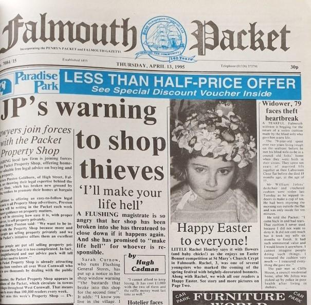 The front page of the Falmouth Packet on April 13, 1995