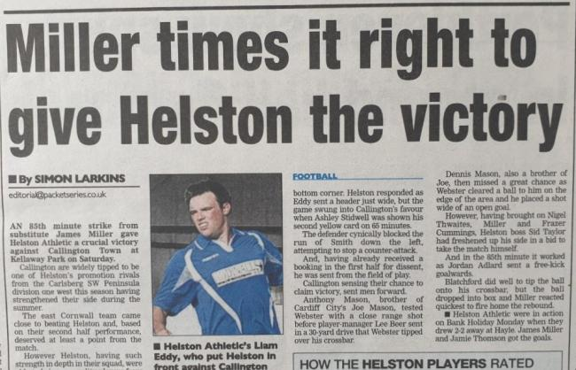 Helston Athletic defeated SWPL Division 1 West title rivals Callington Town