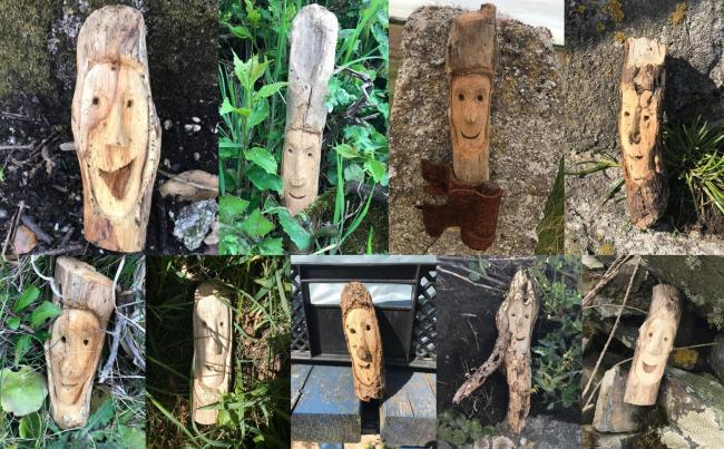 The wooden faces popping up around The Lizard