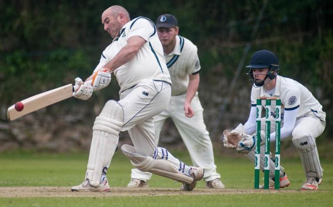 St. Gluvias batsman Phil Bostock, with Mullion slip Dan Johnson and wicket keeper Max Roberts in 2019. Picture by Colin Higgs