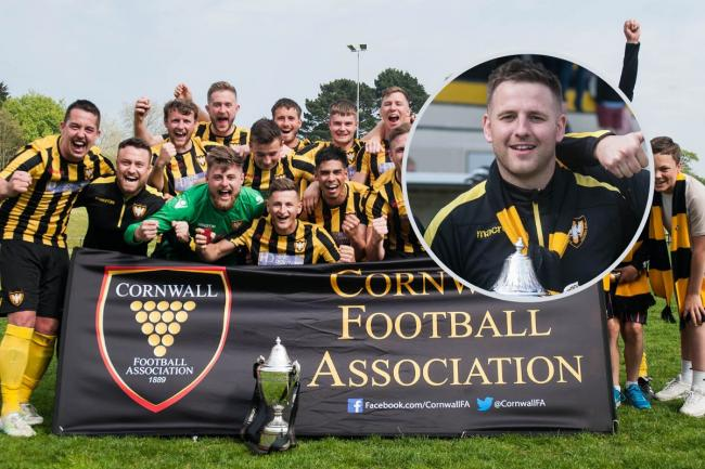 Falmouth Town boss Andrew Westgarth (inset) guided Town to their first Cornwall Senior Cup title in 22 years in 2019