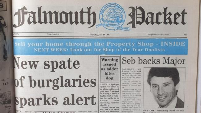 The front page of the Falmouth Packet on June 29, 1995