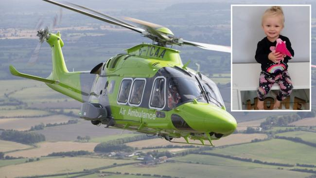 Indigo Haight (inset) was airlifted from Truro in the Children's Air Ambulance after suffering strokes