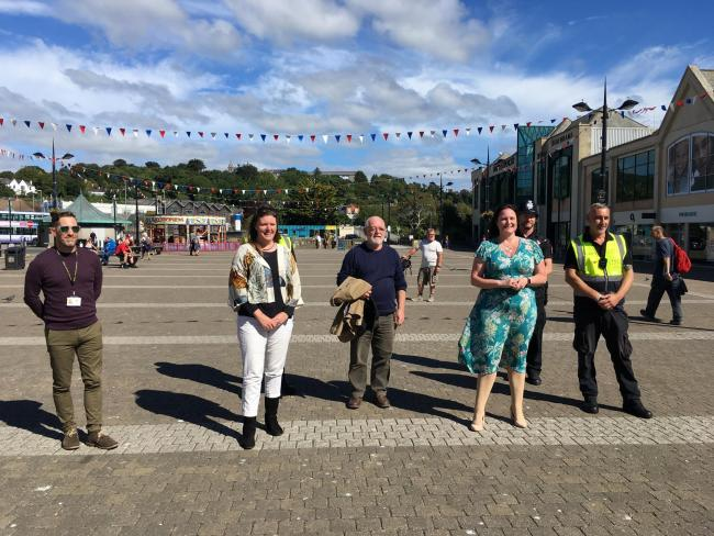 Devon and Cornwall Police and Crime Commissioner Alison Hernandez in Truro to meet street marshalls who have started to patrol the city centre. She is with Truro and Falmouth MP Cherilyn Mackrory and Truro Mayor Bert Biscoe (Image: LDRS/Richard White