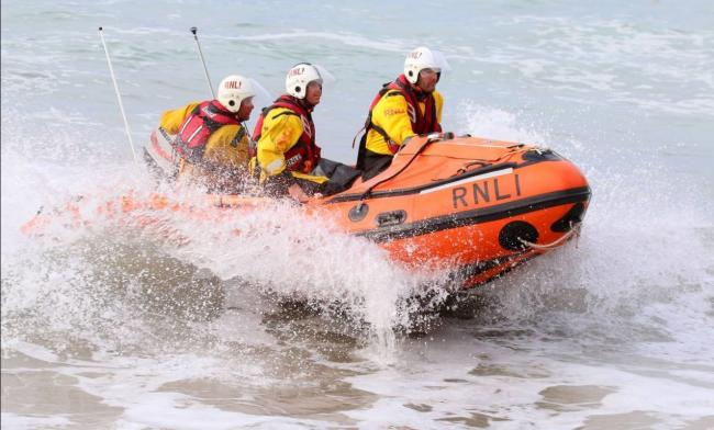 The inshore lifeboat on another rescue. Photo: St Agnes RNLI