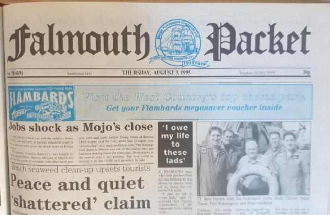 The front page of the Falmouth Packet on Thursday, August 3, 1995