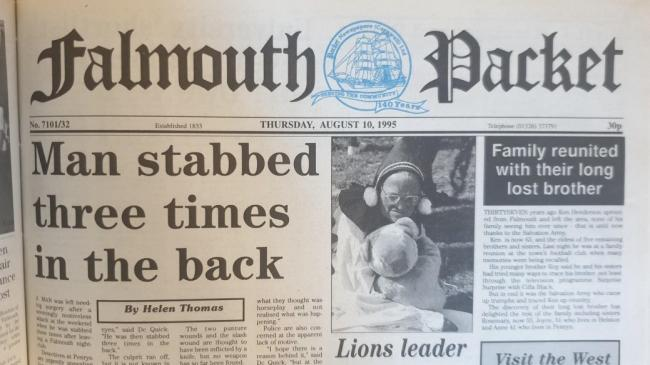 The front page of the Falmouth Packet on Thursday, August 10, 1995