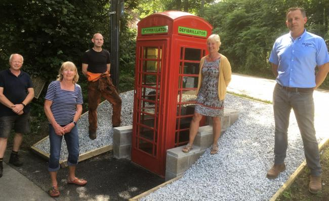 Andy Brown, Caroline Hemsworth,  Paul Hoskin, Tracey Scott and Lee Graham at the launch of the defibrillator box for Coverack Bridges