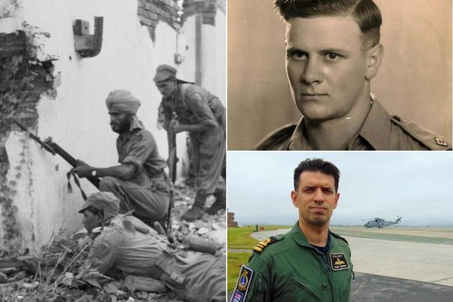 Mark Barber (bottom right) speaks about his grandfather Peter Barber (top right) and his time in Burma with a troop of Indian soldiers (left)