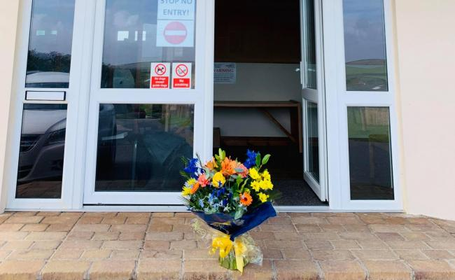 The flowers left at Churchtown Farm caravan and campsite in Gwithian