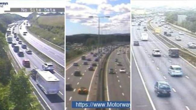 From left to right:: The A30 at Alphington, the M5 southbound J29, Exeter Airport and the M5 Exeter/Topsham just before midday. Images: Highways England