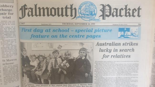 The front page of the Falmouth Packet on September 14, 1995