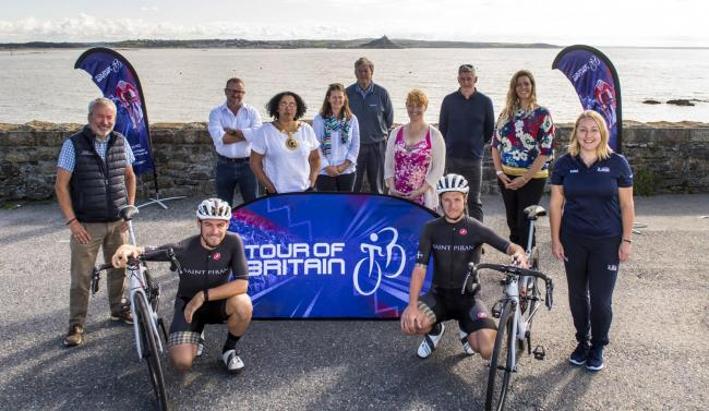 Two of Cornwall's elite cyclists join Penzance Town Council and Cornwall Council for the Tour of Britain countdown