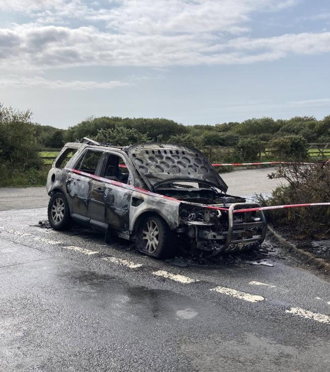 A car following the fire on the A3083. Picture: Mullion Community Fire Station